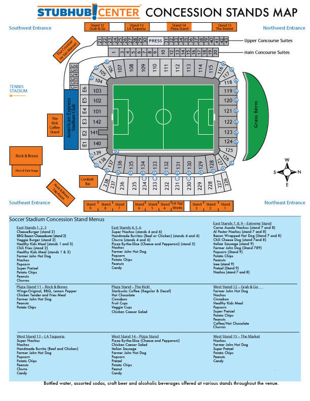Stubhub Center Map StubHub Center Concessions and Dining Options | LA Galaxy Stubhub Center Map